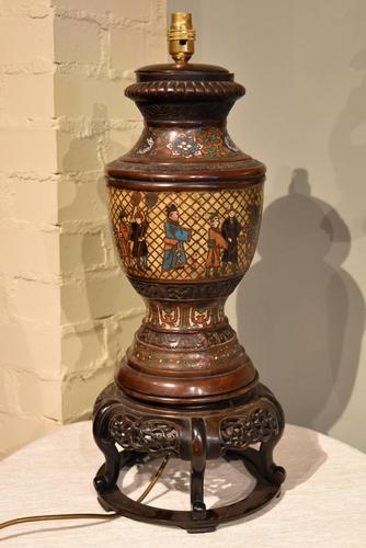 Tibetan Champlevé / Enamel & Bronze Lamp (1 of 5)
