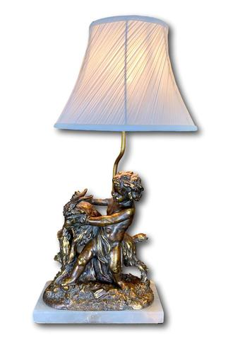 Early 20th Century Lamp Featuring Cherub & Goat (1 of 4)