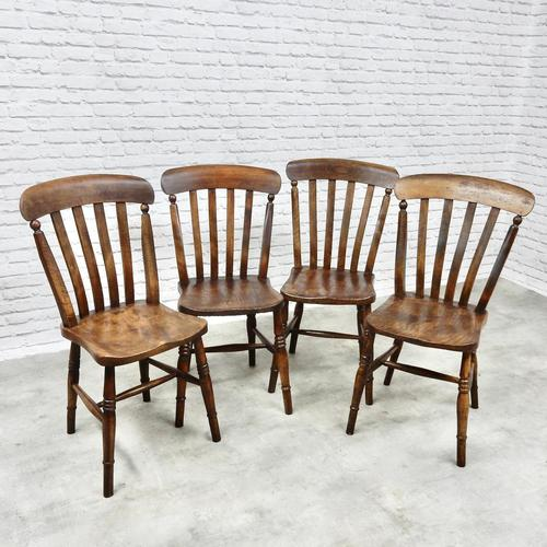 Set of 4 Windsor Lath Back Kitchen Chairs c.1890 (1 of 5)