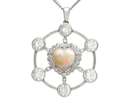 2.47ct Opal & 5.34ct Diamond, Platinum Pendant c.1940 (1 of 12)