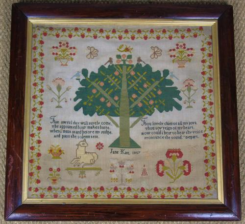 Good 19th Century Embroidery Sampler by Jane Kay 1897 (1 of 8)