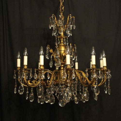 Italian Gilded & Crystal 12 Light Antique Chandelier (1 of 9)