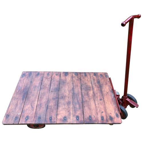 English Vintage Railway Willmot Trolley Oak Iron Plank Top Coffee Wheel Table (1 of 25)