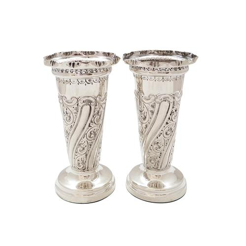 """Pair of Antique Victorian Sterling Silver 5 1/2"""" Vases 1897 (1 of 9)"""