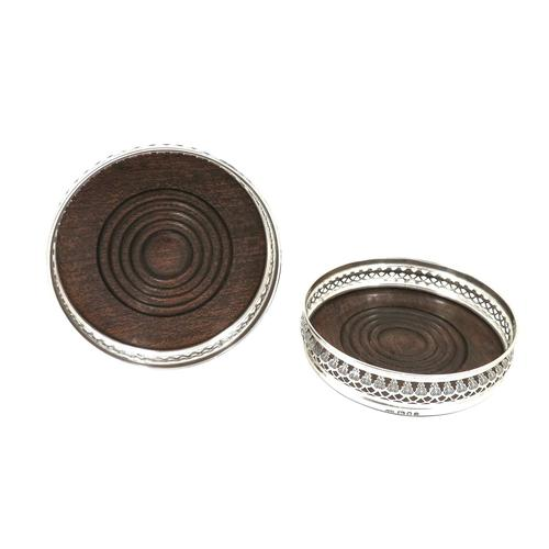 Pair of Vintage Sterling Silver Wine / Champagne Coasters 1973 (1 of 8)