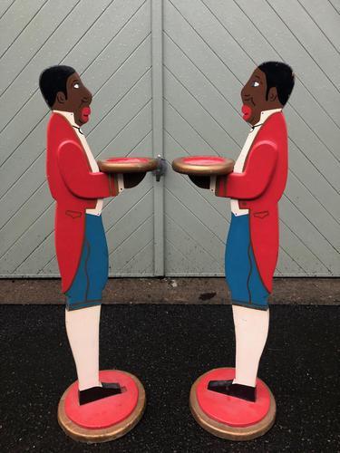 Pair of Antique Painted Blackamoor Dumb Waiters (1 of 7)