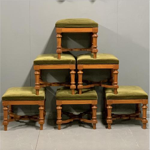 Set of 6 satinwood modular stools in vintage velvet (1 of 8)