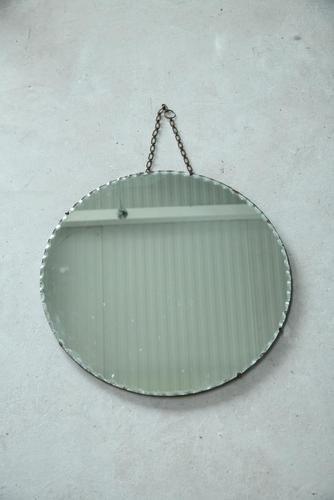 Large Round Vintage Frameless Mirror (1 of 6)