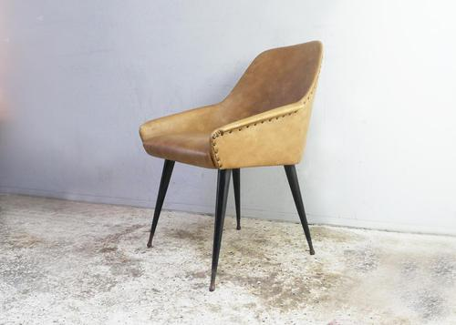 1950's Vintage French Leatherette Bedroom Chair (1 of 4)