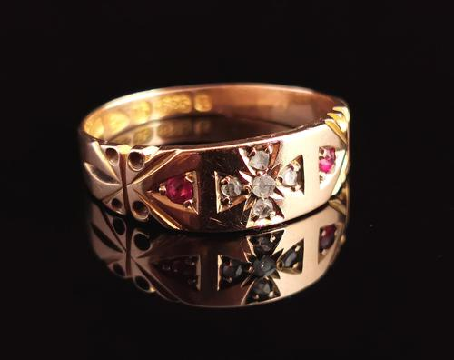 Victorian Ruby and Diamond Ring, Maltese Cross, 15ct Yellow Gold (1 of 12)