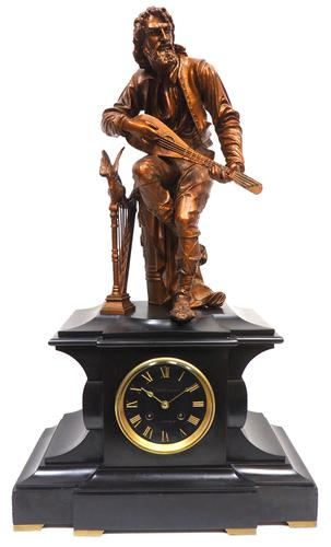 Antique French Slate Mantel Clock 8-Day Striking Gilt Spelter Figural Mantle Clock (1 of 8)