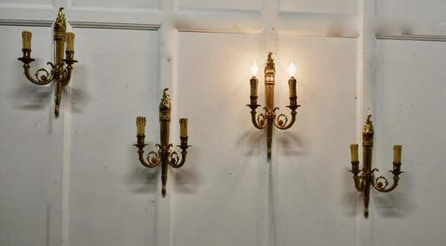 Set of French Neo Classical Large Brass Twin Wall Lights (1 of 5)