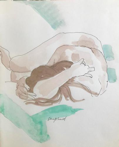 Original Watercolour 'Sleeping Figure' by Toby Horne Shepherd 1909-1993 Signed c.1965 (1 of 1)
