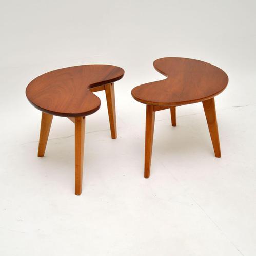 Pair of Vintage Walnut Kidney Side Tables (1 of 8)