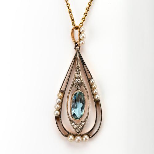 Antique Edwardian Aquamarine Pearl & Diamond Pendant c.1910 (1 of 6)