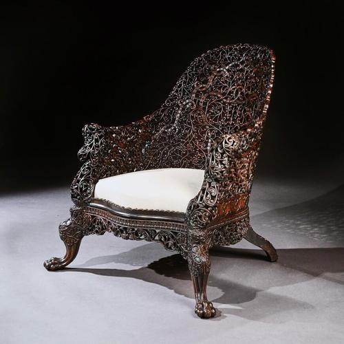 Exceptional 19th Century Anglo Indian Carved Teak Armchair (1 of 9)