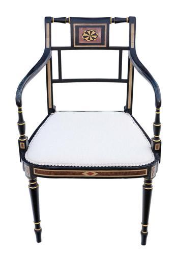 Regency Ebonised Elbow / Carver / Desk Chair (1 of 6)