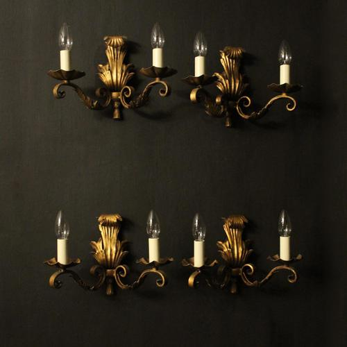 French Set of 4 Gilded Iron Twin Arm Wall Lights (1 of 10)