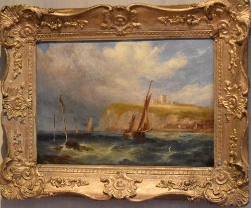 Coastal scene oil painting by Joseph W Yarnold (1 of 6)