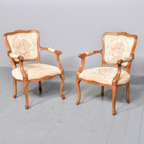 Pair of Louis XV Style Open Armchairs Fauteuils (1 of 10)