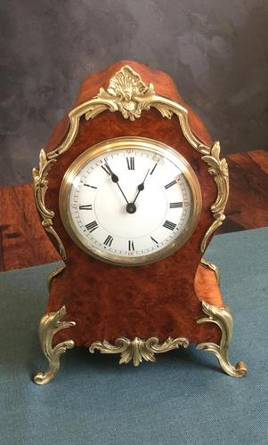 Late 19th Century French Burr Maple & Gilt Brass Mantel Clock (1 of 3)