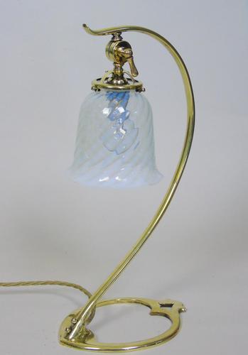 Beautiful Art Nouveau Adjustable Brass Table Lamp (1 of 6)
