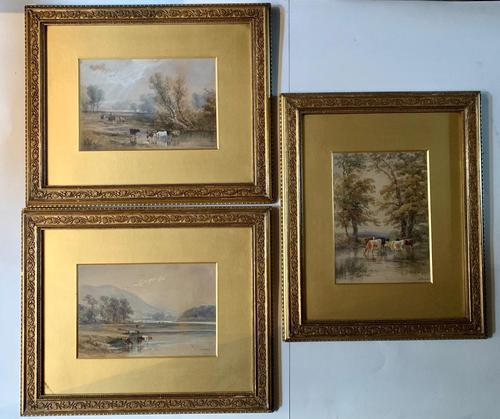 H Earp Senior - Set of Three Watercolours of cattle c1890 (1 of 7)