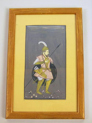 Antique Indian Gouache Painting Mughal Warrior (1 of 3)