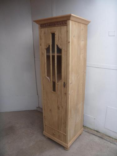 Art Deco Pine 1 Door Linen / Bathroom / Storage Cupboard to wax / paint (1 of 9)