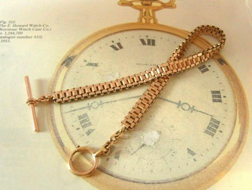 Antique Pocket Watch Chain 1890s Victorian French Large 10ct Rose Gold Filled  Albert (1 of 12)