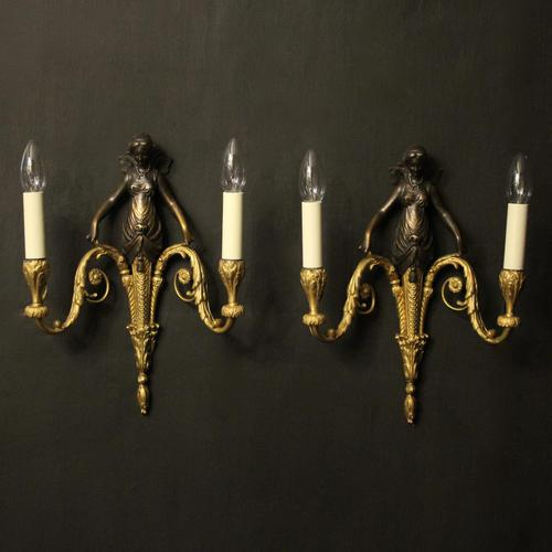 French Pair of Gilded Bronze Twin Arm Antique Wall Sconces (1 of 10)