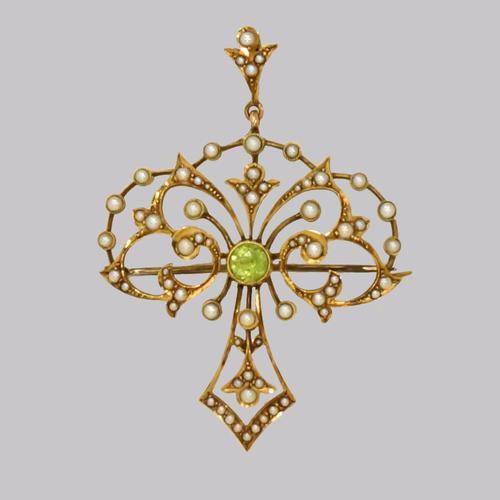 Edwardian 15ct Gold Peridot & Pearl Pendant Antique Art Nouveau Brooch Circa 1910 (1 of 12)