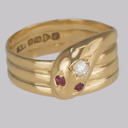 Antique Diamond Snake Ring 18ct Gold Coiled Serpent with Ruby Eyes Hallmarked Chester 1918 (1 of 8)