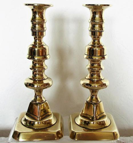 Pair of Antique English Victorian Brass Candlesticks (1 of 2)