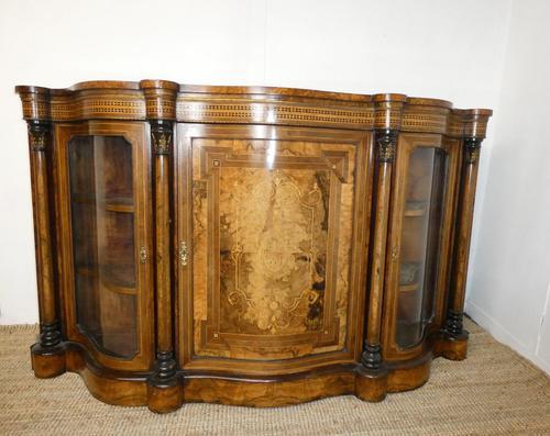19thc Burr Walnut Credenza Cabinet (1 of 10)