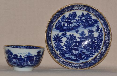 Worcester Porcelain Teabowl and Saucer 'Bandstand' Pattern 1780-90 (1 of 12)