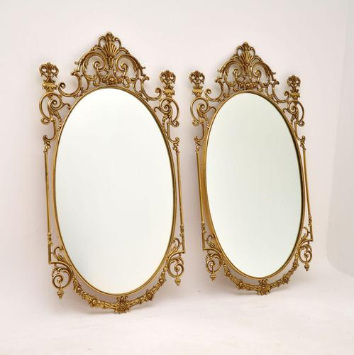 Pair of Antique French Style Brass Mirrors (1 of 12)