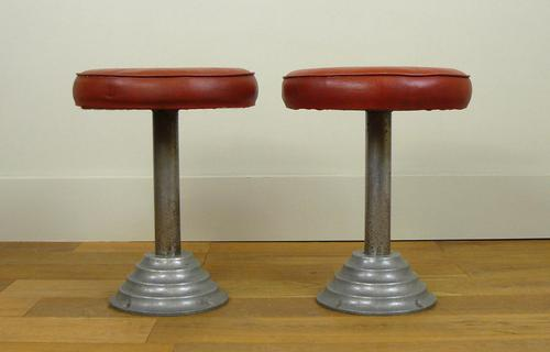 Pair 1930s Art Deco Inspired Industrial Swivel Stools (1 of 10)