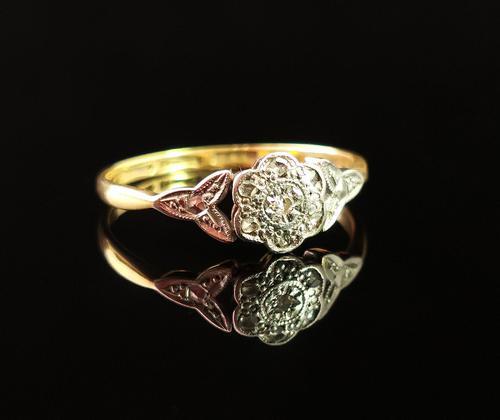 Antique Diamond Flower Ring, 18ct Gold & Platinum (1 of 11)
