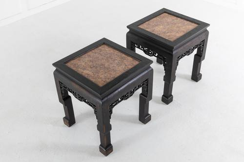 Pair of Ebonised Chinese Side Tables with Marble Tops (1 of 10)