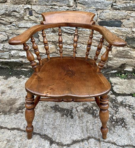 Antique Elm Captains Chair Smokers Bow (1 of 13)