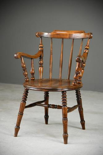 Antique Beech Spindle Back Penny Carver Chair (1 of 11)