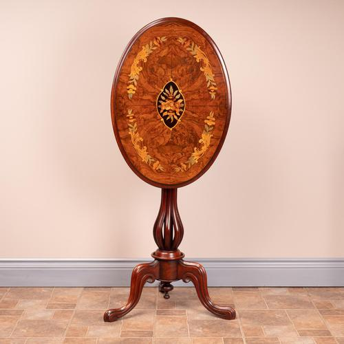 Good Quality Marquetry Walnut Occasional Tip Table (1 of 14)