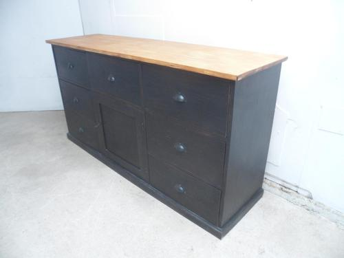 Lovely Pine Painted Black & Waxed 7 Drawer Chest of Drawers / TV Stand (1 of 9)