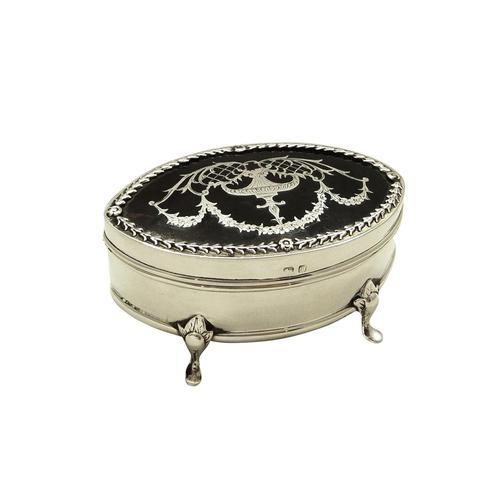 Antique Edwardian Sterling Silver & Tortoiseshell Trinket Box 1910 (1 of 9)