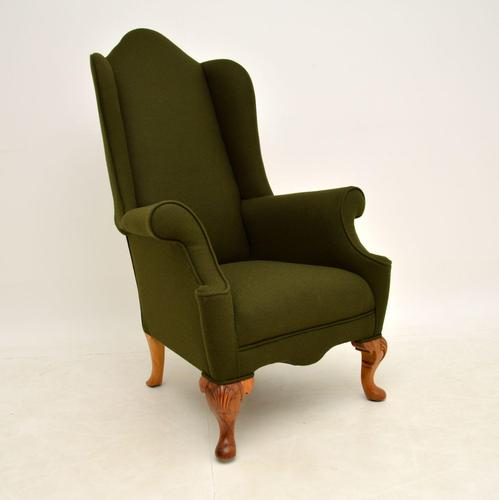 Antique Walnut Wing Back Armchair (1 of 10)