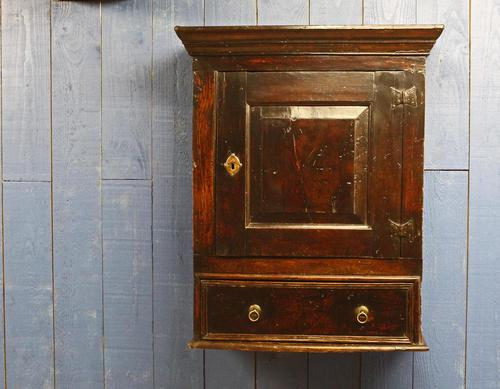Late 17thC Oak Hanging Wall Cupboard. Mural or Spice Cabinet (1 of 17)