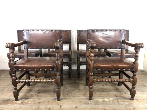 Set of Six Oak and Leather Dining Chairs (1 of 23)