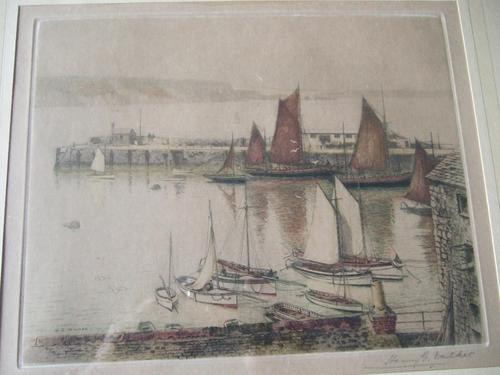 Henry George Walker (1876-1932): coloured etching of fishing boats in harbour ca.1920s (1 of 4)