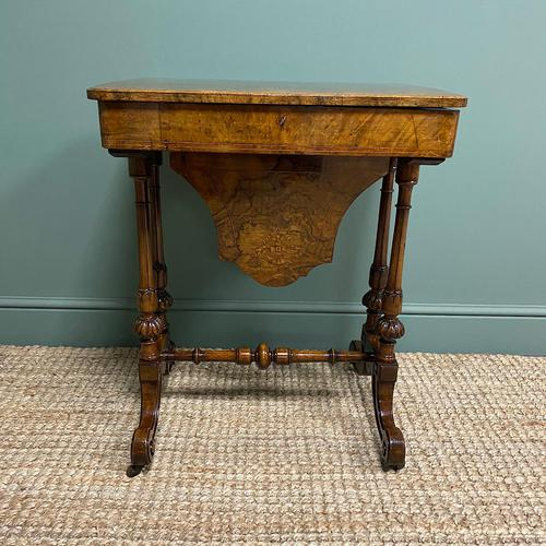 Spectacular Figured Walnut Inlaid Victorian Antique Work Box / Side Table (1 of 8)